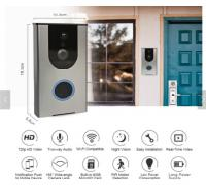 China Wifi Video Doorbell Outdoor Battery IP Camera PIR Night Vision Wireless Door Intercom Builtin 8G TF Card IP65 Waterproof on sale