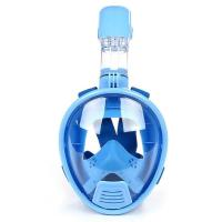 China Panoramic Visibility Diving Full Face Mask Blue Color With Nylon Strap wholesale