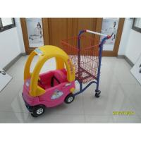 Quality 95L Low Carbon Steel / Plastic Children Shopping Cart With Red Powder Coating for sale