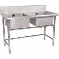China Silver Stainless Steel Double Compartment Sink 1.2mm For Restaurant With MDF on sale