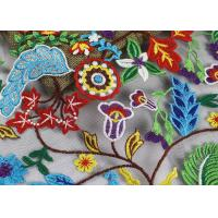 Quality Multi Colored French 3D Floral Embroidered Lace Fabric / Netting Fabric For Girls Dress for sale