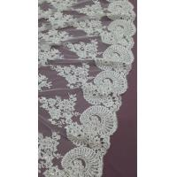 China 140cm Sequin Beaded Ivory Lace Fabric , White Embroidered Bridal Wedding Lace wholesale