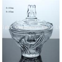 China luxury design glass fruit plate, glass candy container with lid wholesale