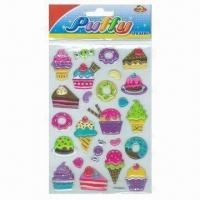 China Children's Puffy Stickers, Comes in Cute and Colorful Designs wholesale