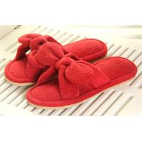 Wholesale Red / white L Bowknot Beautiful Soft Unique Indoor plush slippers for lady from china suppliers