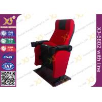 China Iron Material Lounger Movie Theater Chairs PP Armrest With Cup Holder 2.3mm Thickness wholesale