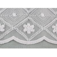Quality White Embroidered Floral Lace Fabric Milk Silk Nylon Mesh Fabric For Wedding for sale