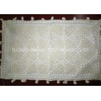 China White Oblong Shape Crochet Cushion Cover 45cm x 75cm With Ball Trimming on sale