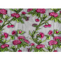 China Coloured Embroidery 3D Flower Polyester Lace Fabric By The Yard For Party Dress wholesale