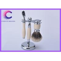 China Mach 3 Razor Shaving Brush Set with luxury badger brushes and stand in ivory color wholesale