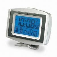 Radio-controlled Clock with Thermometer and RoHS Approval, Various Versions are Available
