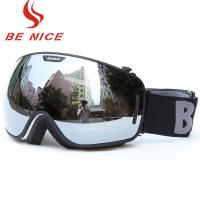 China Big Spherical Black Mirrored Ski Goggles , Anti Scratch Tinted Snowboard Goggles wholesale