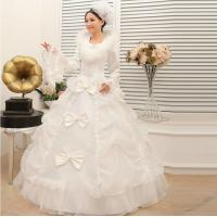 China Embroidered Vintage long sleeve White Cotton Wedding Dresses winter wedding gowns wholesale