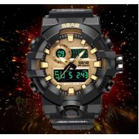China SBAO New Wholesale Dual Time Shock Resist Chronograph Alarm TPU Band 3ATM Outdoor Sport Watches  S-8018 wholesale