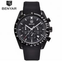 Quality Wholesale Fashion Men Multifunction Chronograph Silica Gel Band Waterproof 30m Quartz Wrist Watches BY-5120 for sale