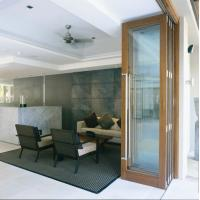 China Exterior Tempered Folding Glass Door Replacement Powder Coating 6063 Aluminum wholesale