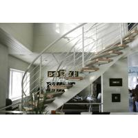Curved Staircase Stainless Steel Rod Railing Contemporary Rod Iron Railing