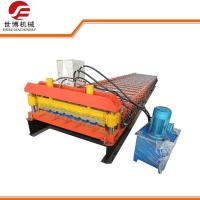China Metal Decking Floor Trapezoid Sheet Cold Roll Forming Machine PLC Control Style wholesale
