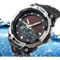 Quality Men Boy Solar Powered Dual Time Zones Waterproof Sport Wrist Watch Analog and for sale