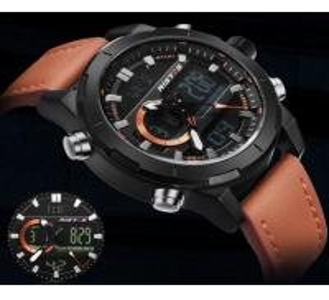 Quality RISTOS New Design Unique Genuine Leather Strap Dual Time Chrono Sports Wrist for sale