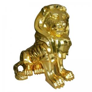 China Rohs Gold Electroplating Service , Lion Sculpture Electroplating Resin Prints wholesale