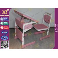 China Single Student Childs School Desk And Chair With Adjustable White Sketch Board wholesale