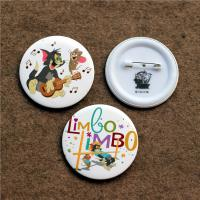 Wholesale custom luxury full color round button badge with safety pin , artwork printing factory from china suppliers
