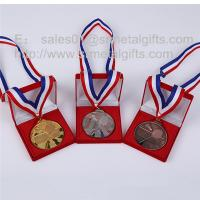China Premium gift box packaged gold / silver sports medal with ribbon lanyards, on sale
