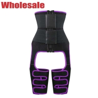 China Black Purple 3 In 1 Waist And Thigh Trimmer Plus Size Waist Cincher wholesale