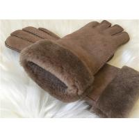 Buy cheap Women's Double face Sheepskin Gloves Shearling Hand Gloves with Fur Cuff from wholesalers