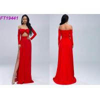 China Summer Slit Off Shoulder Red Evening Dress With Long Sleeves For Party wholesale