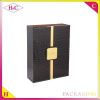 China Luxury double pu leather wine bottle packaging box wholesale