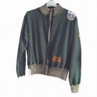 Quality Men's Jacket, Made of Single Jersey Fleece Fabric for sale