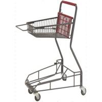 China Gray Metal 2 - Tier Supermarket Basket Shopping Trolley Anti - Collision With 4 PU wheels on sale