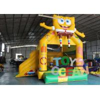 China Yellow Spongebob Inflatable Bounce House Digital Printing For Toddlers / Fun wholesale