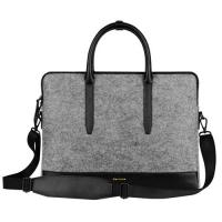 China Environmental Large Messenger Business Laptop Bags Wool Felt with Leather Handle / Bottom wholesale