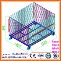 China Supermarket 4 Sided Galvanized Folding Steel Storage Roll Cages wholesale