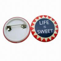China Tin Button Badge in Pantone Color, Customized Sizes and Shapes are Accepted wholesale