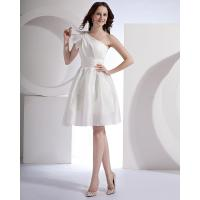 China White Satin Single Shoulder Wedding Dresses Knee length Gowns for Ladies wholesale