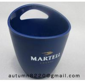 China Clear dark blue plastic ice bucket wholesale