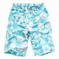 China Big Fashionable Floral Prints on Appearance of Boardshorts, Four Eyelets on the Waist, Comfortable wholesale