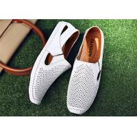 China Anti Kicking Toe White Loafer Slip On Shoes Cowhide Leather Upper With Punching Holes wholesale
