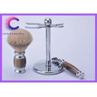 China Silvertip badger shaving brush set men's facial care tools with razor stand wholesale