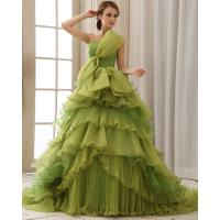 China Green Thin Slim layered wedding dress womens sweep train wedding gowns wholesale