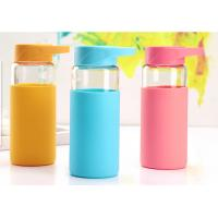 China 370ML Break Proof Borosilicate Glass Water Bottle With Silicone Sleeve , Multi Colors Available wholesale