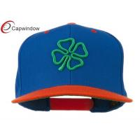 China Royal Orange 3D Clover Embroidered Two Tone Snapback Baseball Caps wholesale