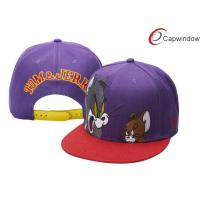 Quality Summer Cartoon Tom And Jerry Snapback Hat 100 Cotton Baseball Caps Blue / Purple for sale