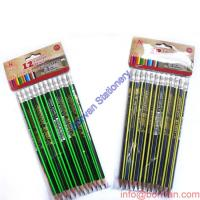China Super quality linden wood Hex. shape hb stripping golf pencil with eraser wholesale