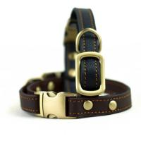 China Handmade Stylish Real Leather Dog Collars Easy Care For Medium Dog Breeds on sale