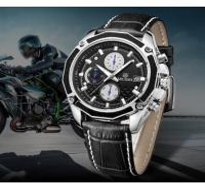 Quality MEGIR Fashion Racing Men Chronograph Multifunction Leather Strap Waterproof 30m Quartz Wrist Watches 2015G for sale